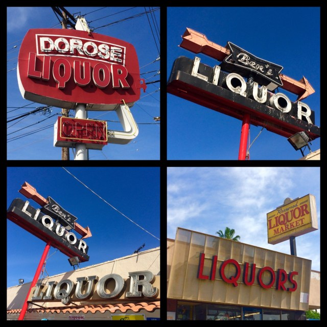 Dorose Liquor on Roscoe Blvd in Panorama City; 2 views of Ben's Liquors, which opened in 1960 on Saticoy Street in Reseda; Rosswood Liquor on Roscoe Blvd in Panorama City
