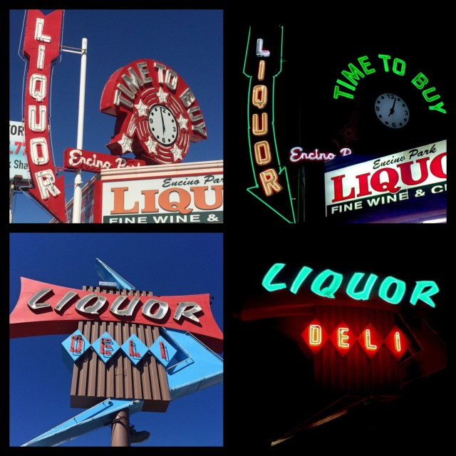Day and Night... Encino Park Liquor, built in 1957, Ventura Blvd in Encino; Beverly Mart on Beverly Blvd & Heliotrope in Los Angeles
