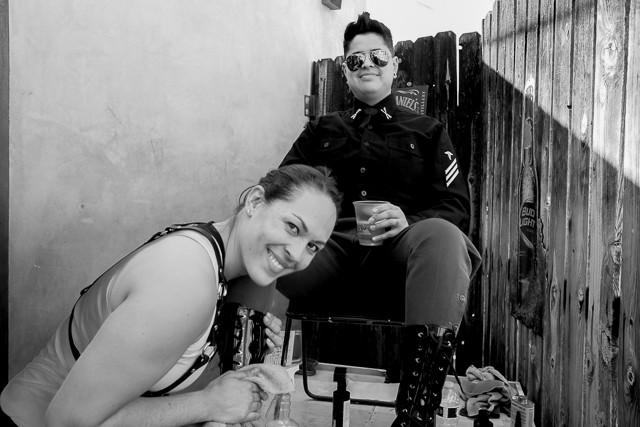 Dyke Day LA bootblack Danielle and customer Coral
