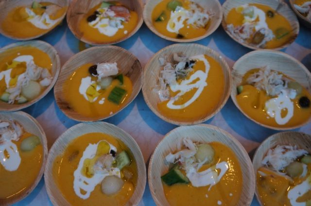 Weiser Farm Melon Soup with crab, lemon creme fraiche, sherry raisins, and pistachio from Chef Dean max of James Republic (All photos by Elise Thompson for The LA Beat)