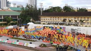 The flurry of movement and elaborated dance formations of the Sinulog dance competition