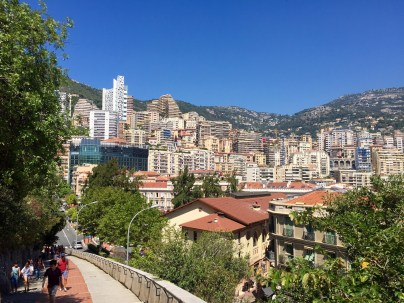 View looking back into Monte Carlo as you walk up the ramp to the Palace