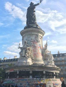 Statue near République metro stop in our neighborhood.