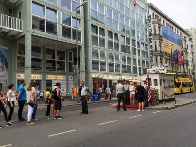 Original location of Checkpoint Charlie (the US officers here are German actors)