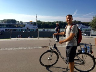 Ready to board the ferry with our bikes