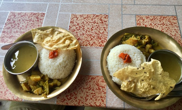 If you don't know what Dal-Baht is, the set includes lentil soup, curried vegetables and a generous helping of rice