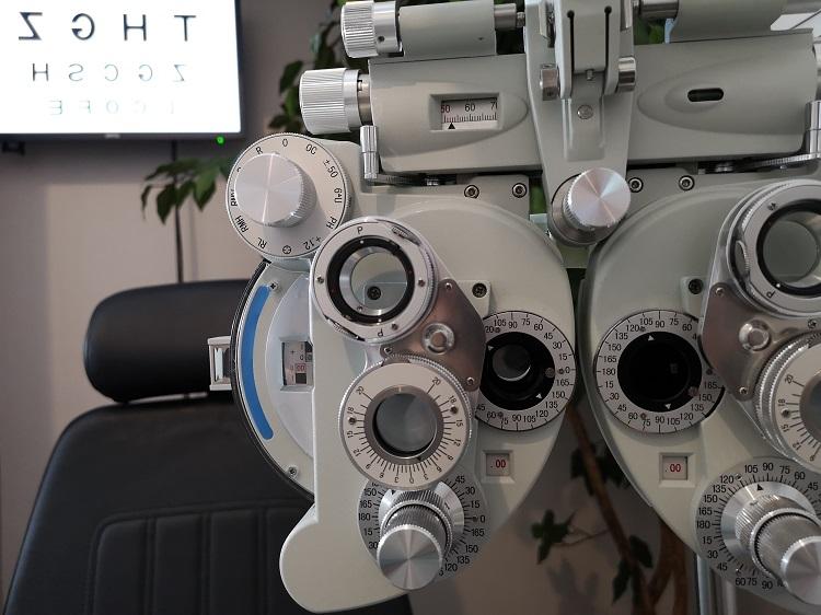 A Phoropter inside an Eye Exam Room