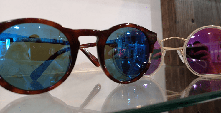 blue and pink sunglasses