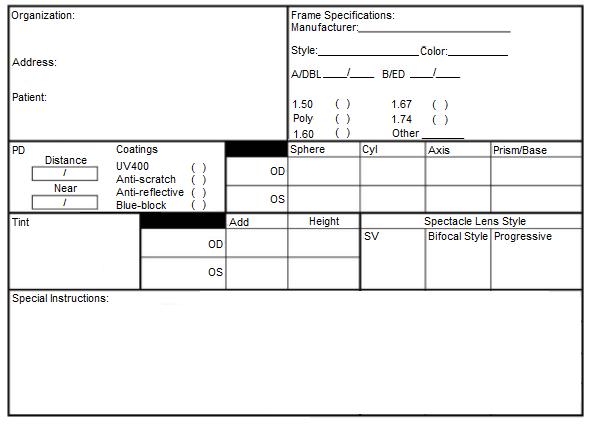 sample glasses order form