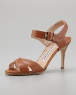 Manolo Blahnik Adeustrap Ankle-Wrap Sandal