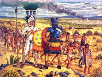 Adam Hook showing elite warriors of the aztec army