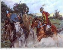 christa hook showing a arab muslim cavalryman named Yaqut attacking two frankish Christian horseman