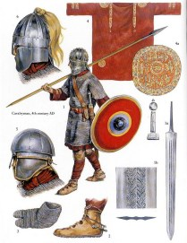 christa hook showing a roman army warrior of the 4th century AD