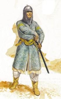 Gerry Embleton showing a syrian arab muslim warrior of the Ayyubid dynasty during the third crusade