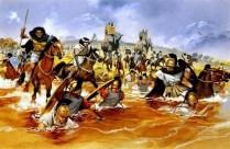a caballería cartaginesa africana arrastra a los romanos al río en Trebia, 218 a.C.