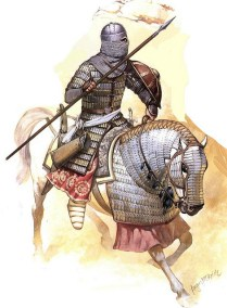 afghan muslim armoured cavalryman of the Umayyad Caliphate after the muslim conquest of persia in the mid 7th century AD