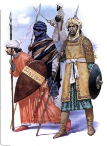 arab muslim cavalryman of the Ayyubid dynasty and a muslim african volunteer of the Ghana Empire servingSultan Saladin during the Battle of Hattin