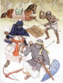 spanish cavalryman from aragon african cavalryman and archer from the Mali Empire serving as border guards for the Almohad dynasty 13th century AD