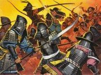Unidentified Japanese warriors in battle