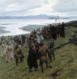 A painting shows the Christian clergy preaching to a Norse settlement.