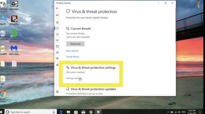 Disable or turn off windows defender antivirus