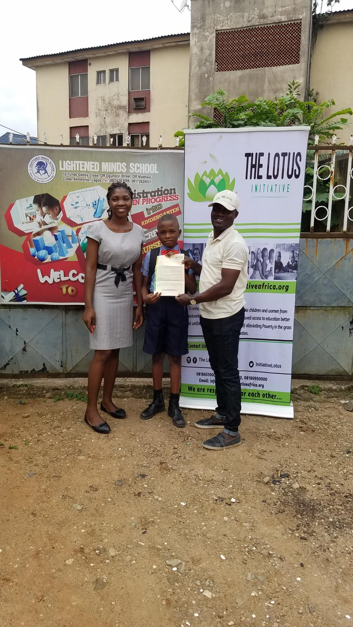 Lotus Initiative Program Manager with Miss.Joy Akaaba and a staff of Lightened Minds Private School.