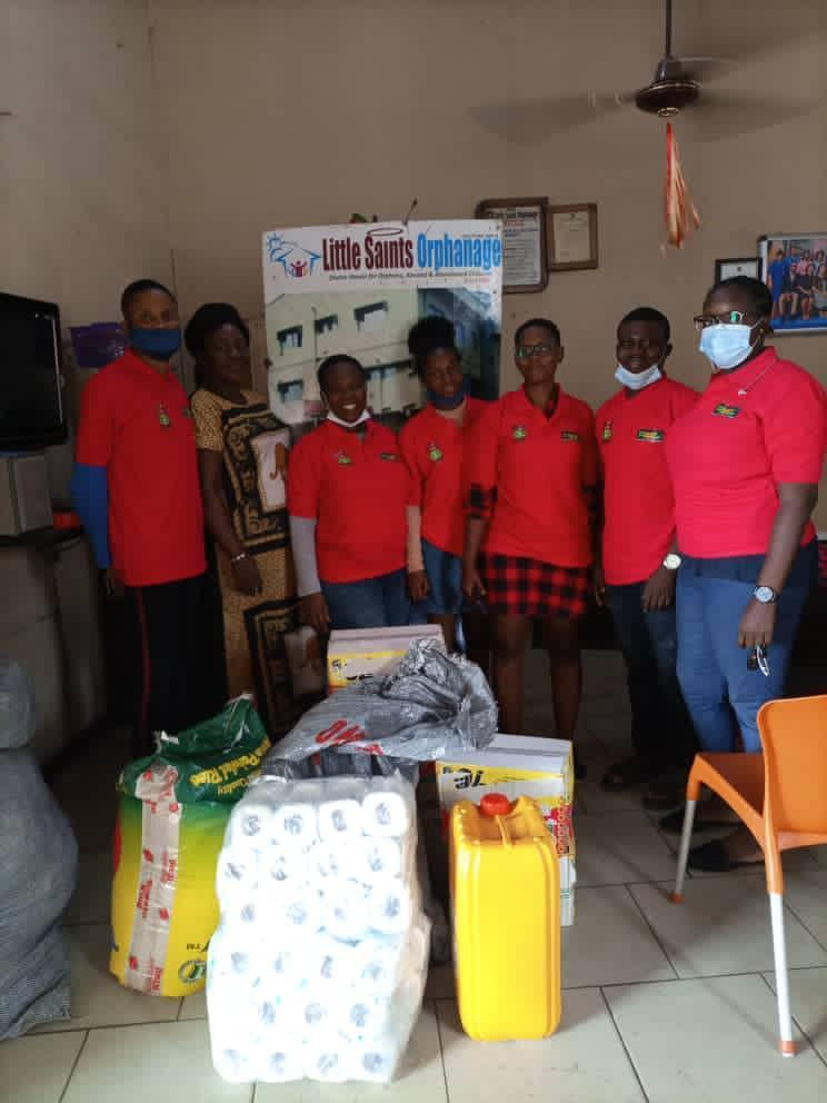 Lotus Initiative Team with REEL Foundation Staff at Little Saint Orphanage, Abule Egba to Present Gift Items.