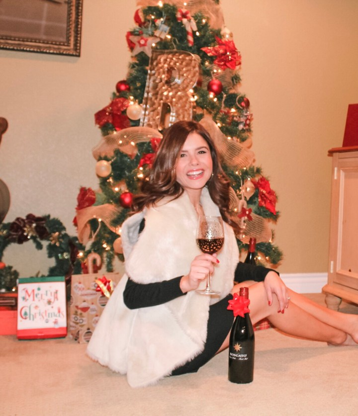 Faux shearling vest and Roscato Wines