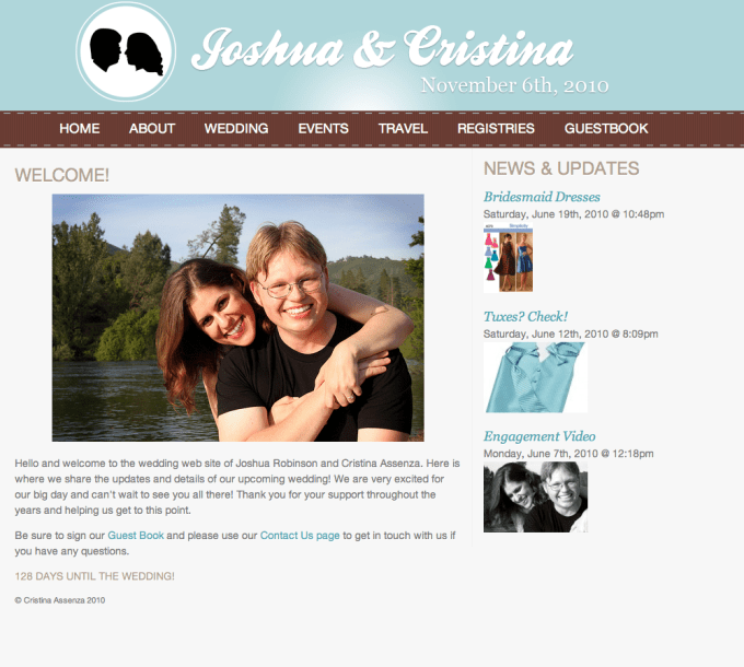 JoshandCristina.com - our wedding web site!