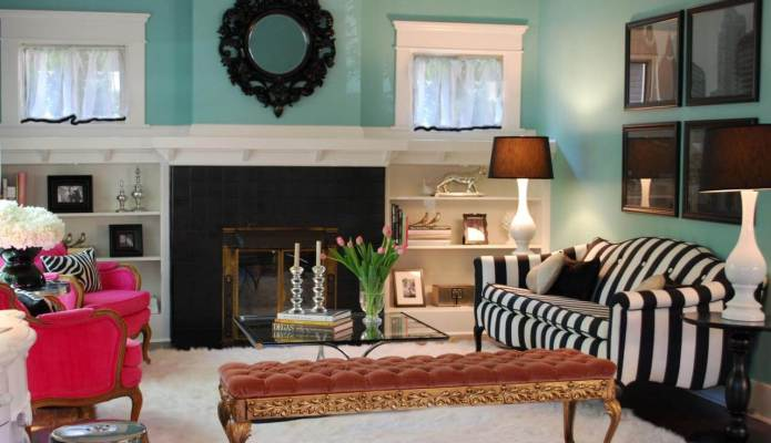 Turquoise Living Room with Striped Sofa