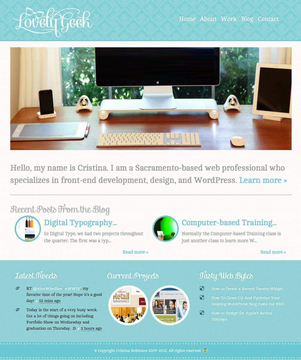 LovelyGeek.net, 2012 homepage