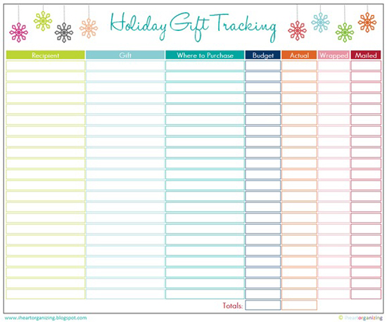 Holiday Gift Tracking from iHeart Organizing
