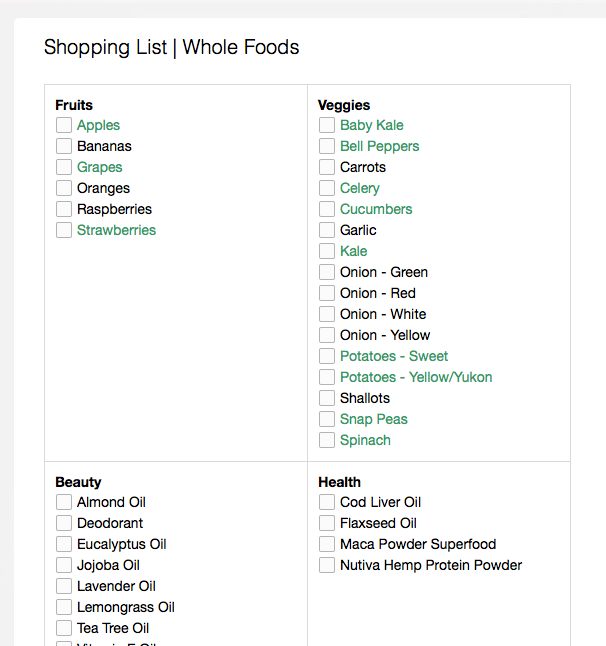 Sample of my Whole Foods shopping list in Evernote #thelovelygeek