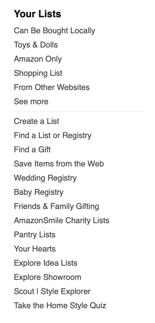 Amazon Lists Column