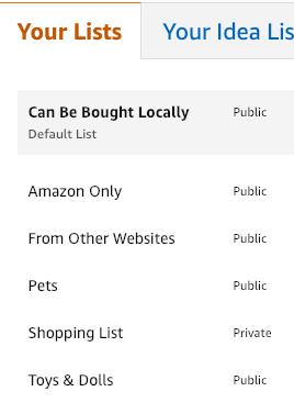 Amazon My Lists