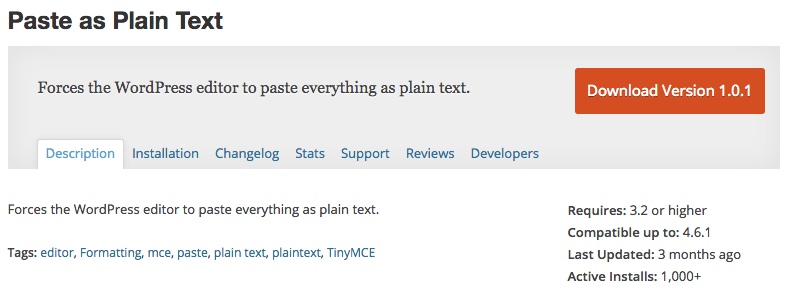 Paste As Plain Text WordPress Plugin