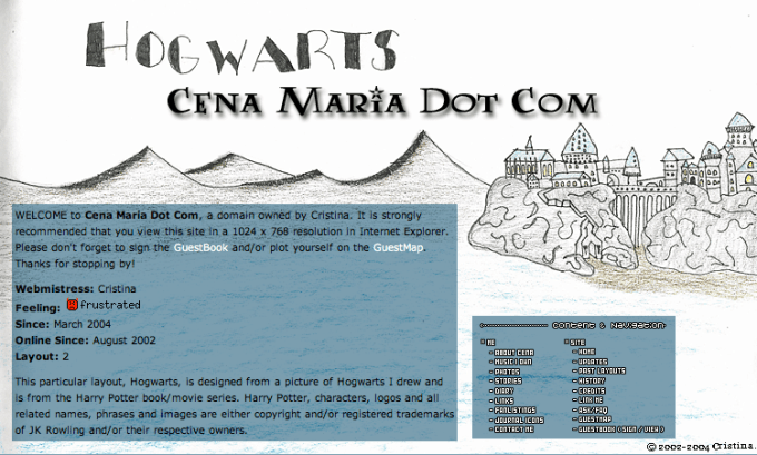One of the early designs I did for cenamaria.com. Back in the day where iFrames and image maps were cool.