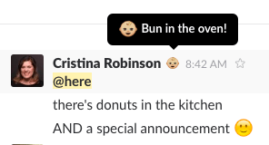 My announcement in the company Slack channel