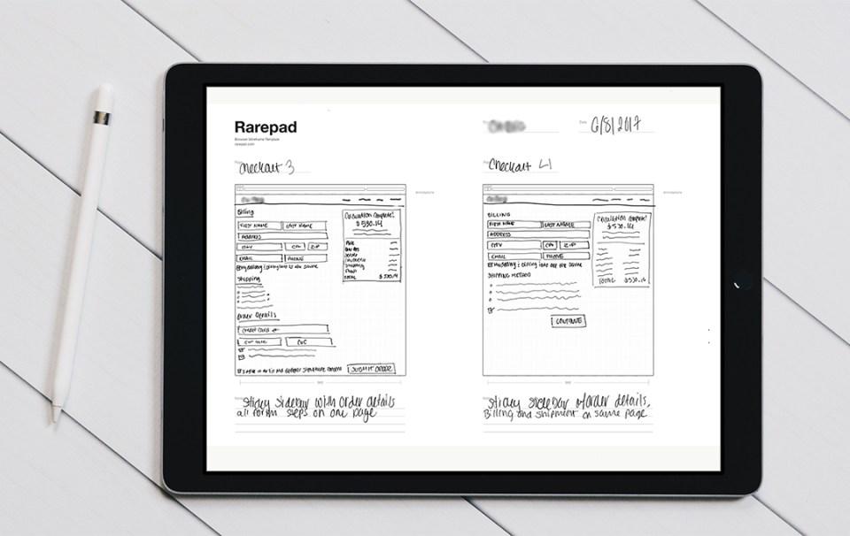 Low-fidelity wireframes on iPad Pro using Adobe Photoshop Sketch and Rarepad