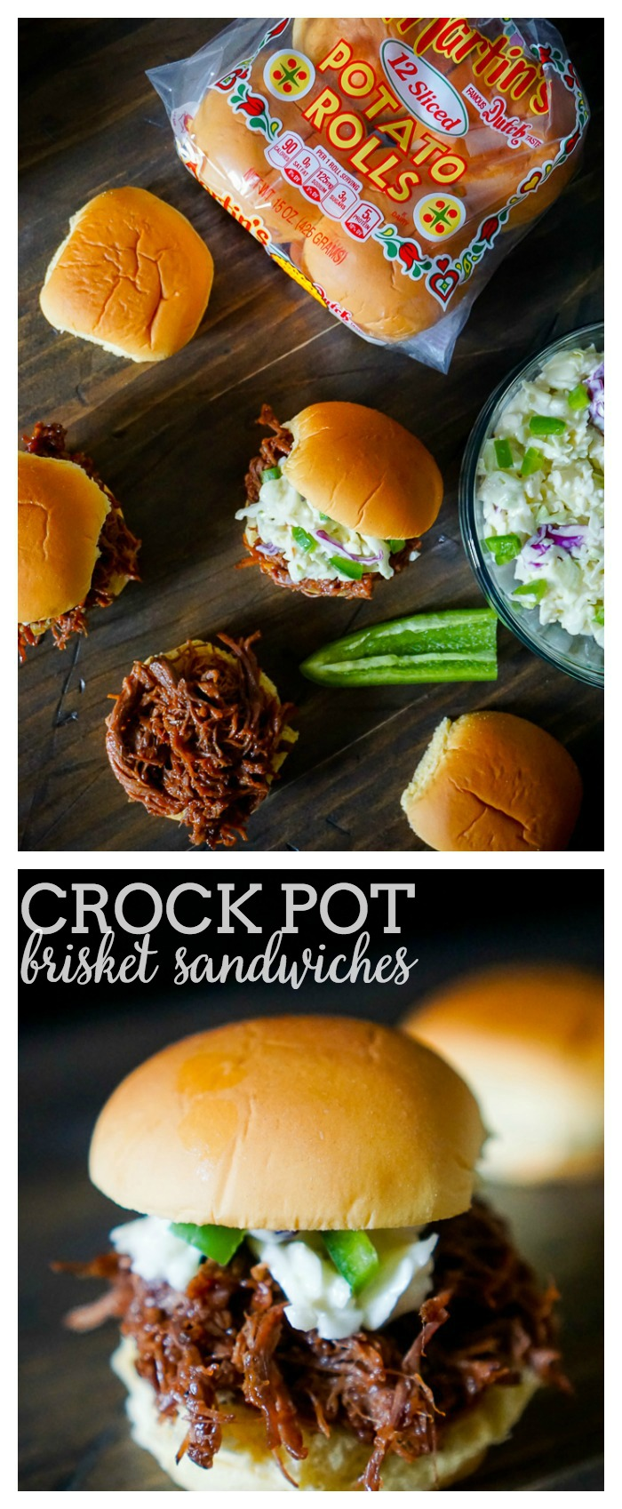 Crock Pot Brisket Sandwiches with Jalapeno Cole Slaw - Keep your house cool this summer with this delicious BBQ recipe! | The Love Nerds #ad #MartinsMakesWaves @Martin'sPotatoRolls