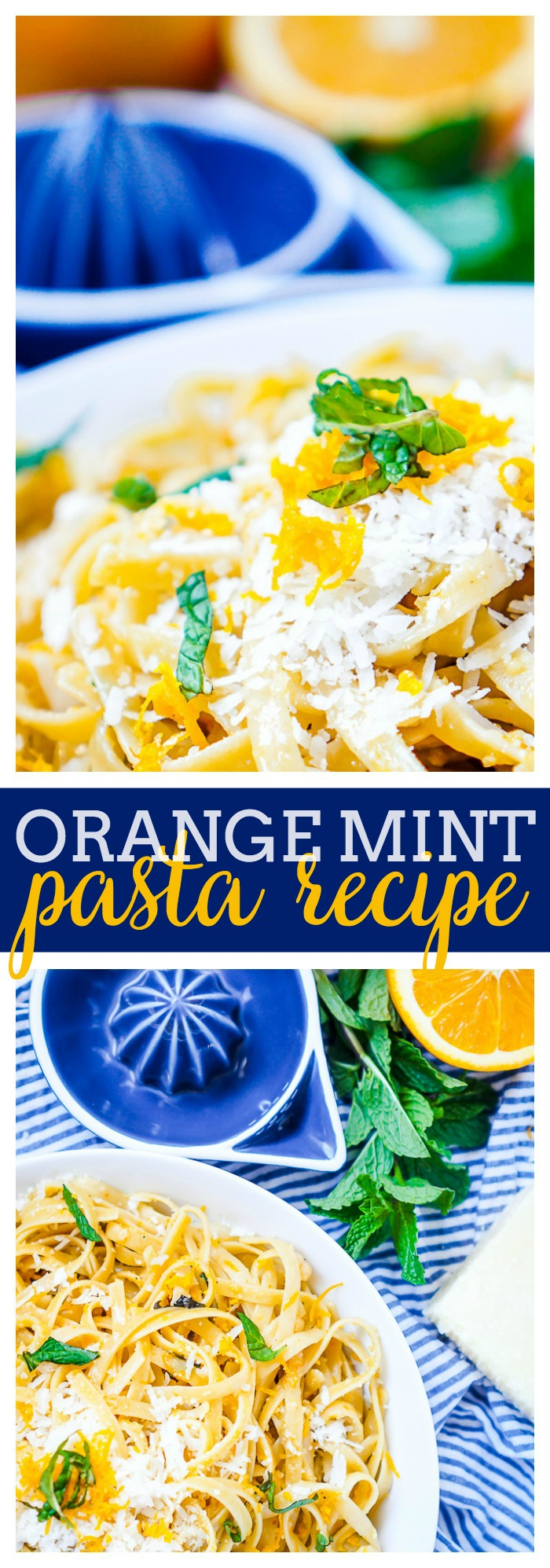 Orange Mint Pasta Recipe - This citrus pasta recipe is a refreshing and light dinner idea that makes the perfect spring pasta recipe and summer pasta recipe! Though I do love it all year long as dinner and side dish! | The Love Nerds