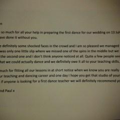 First Wedding Dance Testimonial