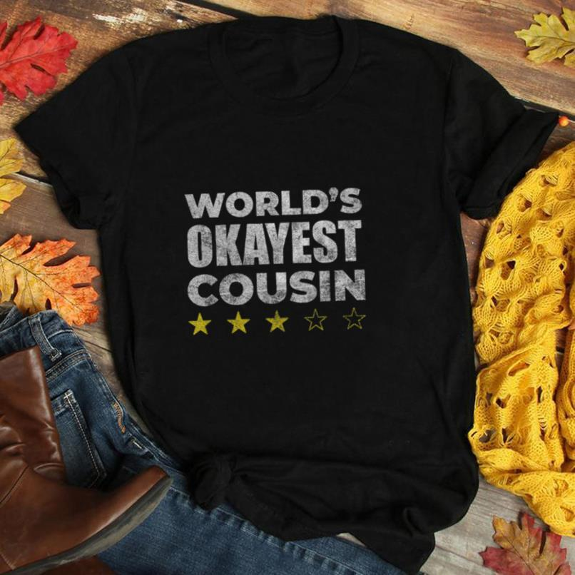 Funny Worlds Okayest Cousin   Vintage Style Gift T Shirt