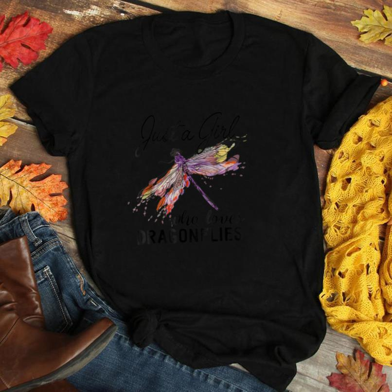 Just A Girl Who Loves Dragonflies T Shirt Entomologist Gift