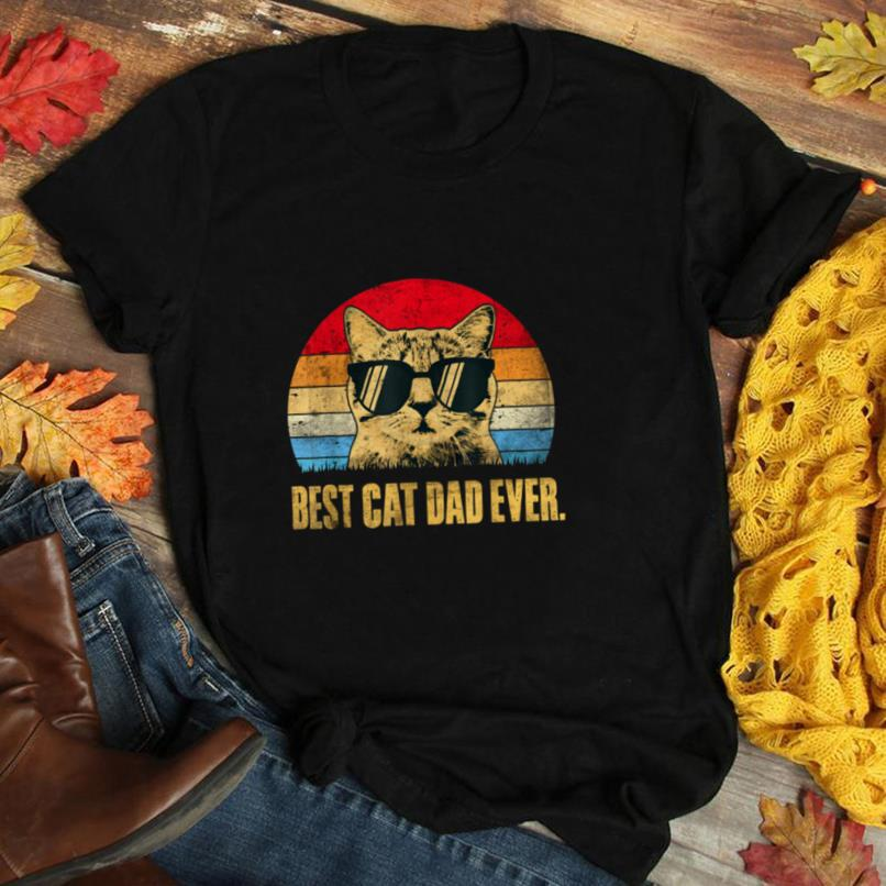 Mens Best Cat Dad Ever Shirt Vintage Cat Dad Fathers Gift T Shirt