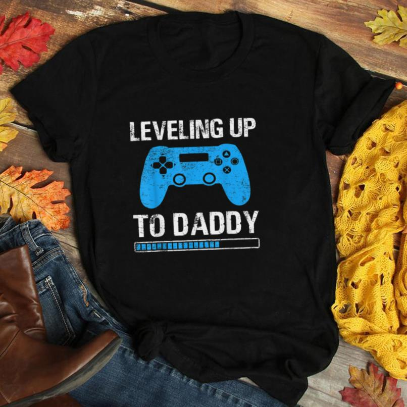 Mens Pregnancy Announcement Leveling Up To Daddy Promoted To Dad T Shirt
