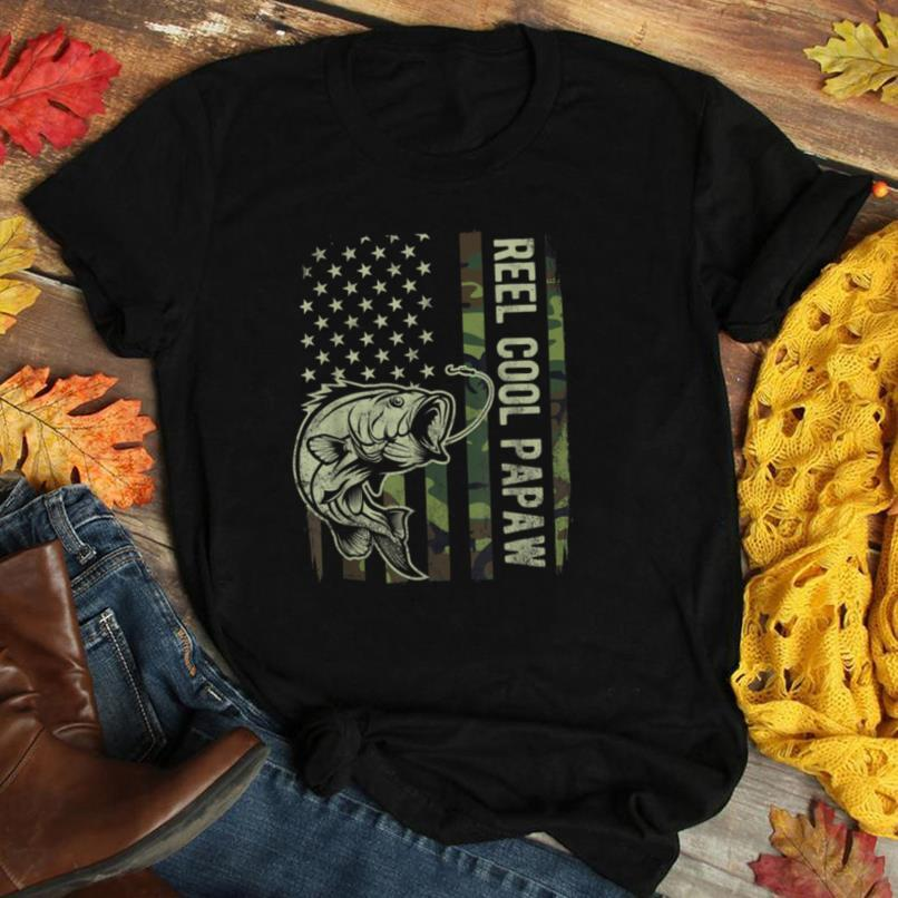 Mens Reel Cool Papaw Camouflage American Flag Fathers Day Gift T Shirt