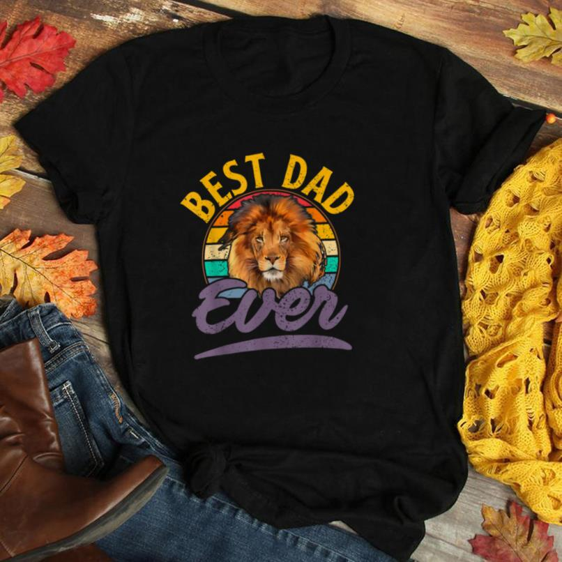 Mens Retro Vintage Best Lion Dad Ever Birthday Father's Day Gift T Shirt