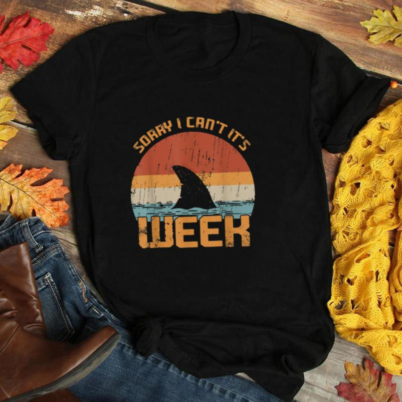 Vintage Sorry I Can't It's Week Funny Shark Gift T Shirt