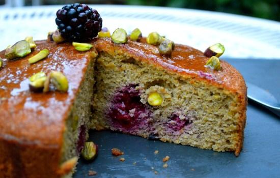 Mrs P's Pistachio and Blackberry cake